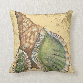 Brown and Green Seashell Cushion