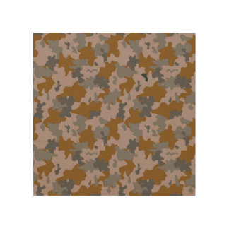 Brown and Grey Camouflage Wood Print