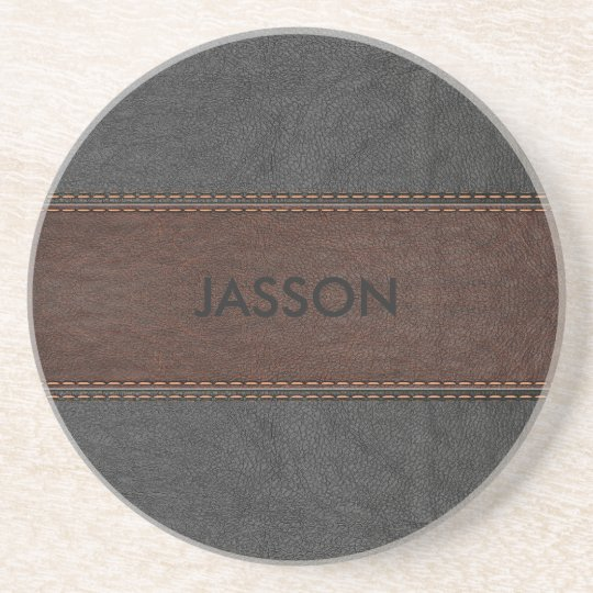 Brown And Grey Vintage Leather Coaster