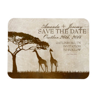 Brown and Ivory African Giraffe Save The Date Rectangular Photo Magnet