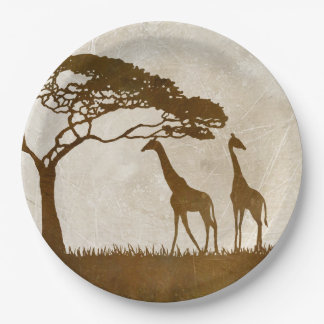 Brown and Ivory African Giraffe Wedding 9 Inch Paper Plate