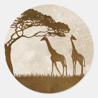 Brown and Ivory African Giraffe Wedding Classic Round Sticker