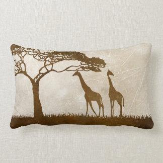 Brown and Ivory African Giraffe Wedding Throw Pillows