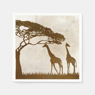 Brown and Ivory African Giraffe Wedding Disposable Napkins