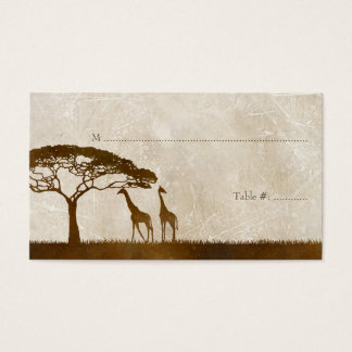Brown and Ivory African Giraffe Wedding Place card