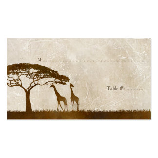 Brown and Ivory African Giraffe Wedding Place card Double-Sided Standard Business Cards (Pack Of 100)
