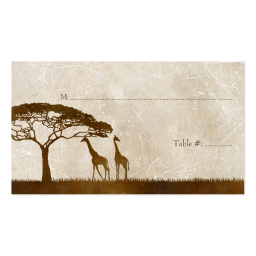 Brown and Ivory African Giraffe Wedding Place card Business Card Templates