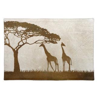Brown and Ivory African Giraffe Wedding Place Mat