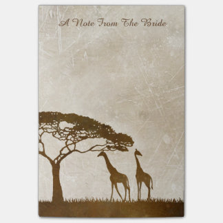 Brown and Ivory African Giraffe Wedding Post-it® Notes