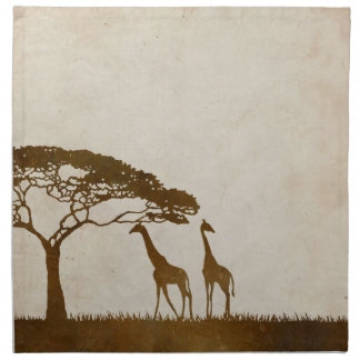 Brown and Ivory African Giraffe Wedding Printed Napkin