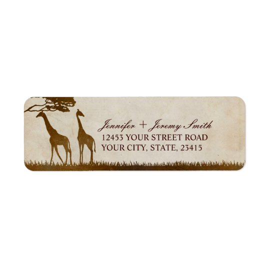 Brown and Ivory African Giraffe Wedding Return Address Label