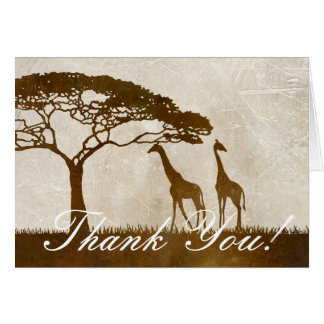 Brown and Ivory African Giraffe Wedding Thank You Card
