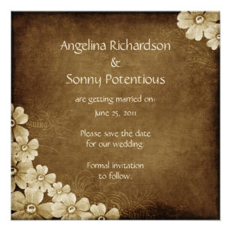 Brown and Ivory Floral Save The Date Announcement