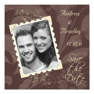 Brown and Ivory Photo Save the Date Card 13 Cm X 13 Cm Square Invitation Card