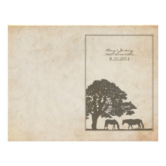 Brown and Ivory Vintage Horse Farm Wedding 21.5 Cm X 28 Cm Flyer