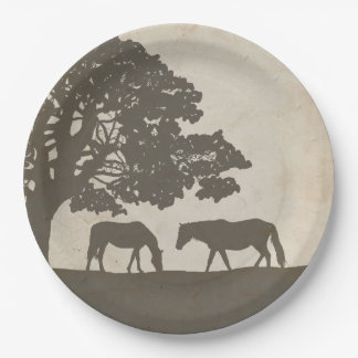 Brown and Ivory Vintage Horse Farm Wedding 9 Inch Paper Plate