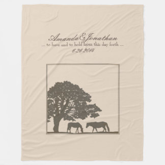 Brown and Ivory Vintage Horse Farm Wedding Fleece Blanket