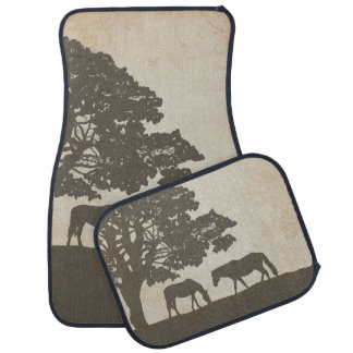 Brown and Ivory Vintage Horse Farm Wedding Floor Mat