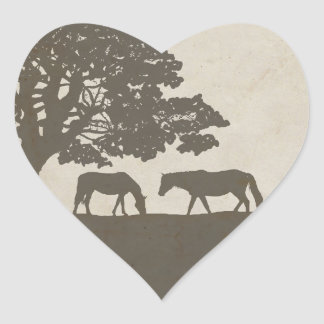 Brown and Ivory Vintage Horse Farm Wedding Heart Sticker