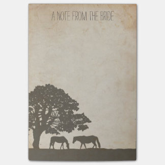 Brown and Ivory Vintage Horse Farm Wedding Post-it® Notes