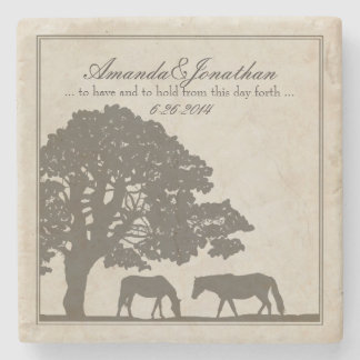 Brown and Ivory Vintage Horse Farm Wedding Stone Beverage Coaster