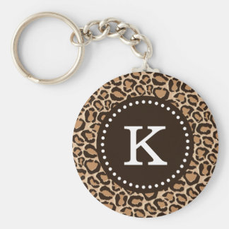 Brown and Leopard Print Custom Monogram Basic Round Button Key Ring