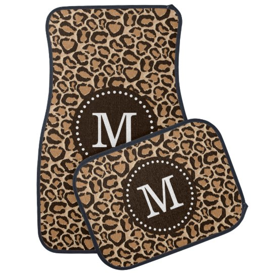 Brown and Leopard Print Custom Monogram Car Mat
