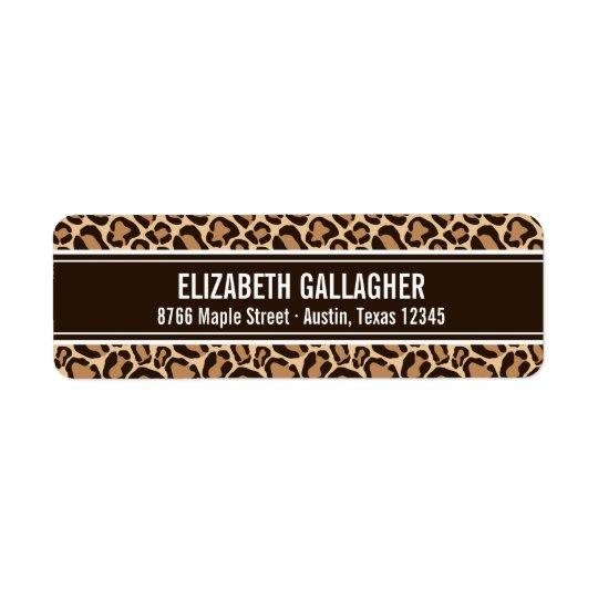 Brown and Leopard Print Return Address Label