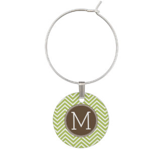 Brown and Lime Green Chevron Pattern with Monogram Wine Charm