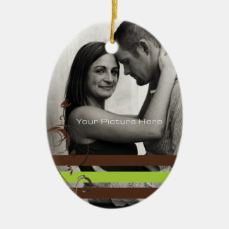 Brown and Lime Photo Engagement Christmas Ornament
