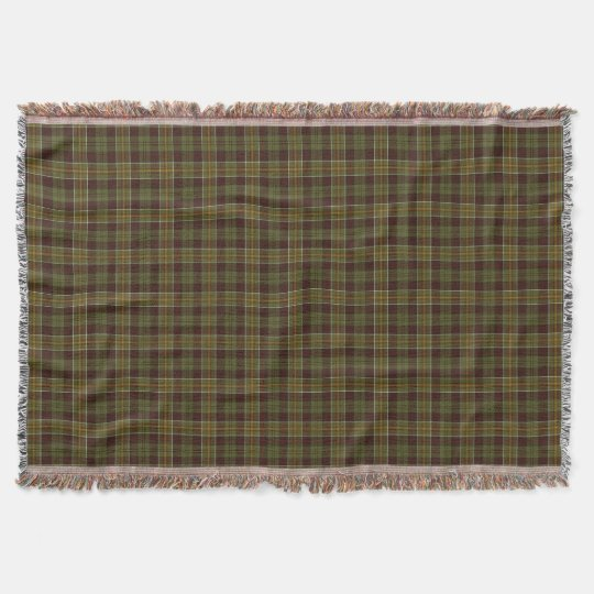 Brown and Moss Green Rustic Plaid Pattern Throw