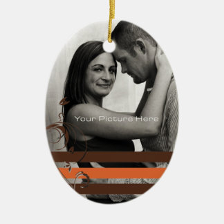 Brown and Orange Photo Engagement Christmas Ornament