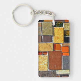 Brown and Orange Tiles Double-Sided Rectangular Acrylic Keychain