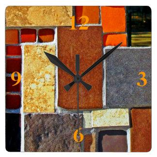 Brown and Orange Tiles Wallclock
