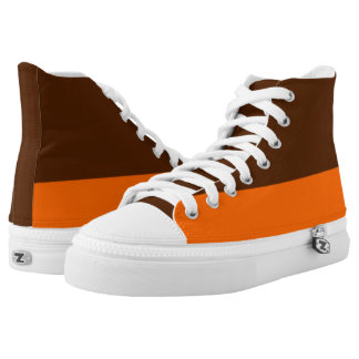 Brown and Orange Two-Tone Hi-Tops