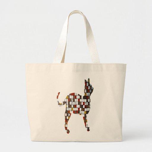 Brown and Oranges Squares Cat Canvas Bag