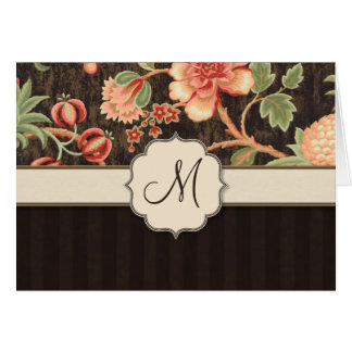 Brown and Peach Retro Floral, Stripes and Monogram Card