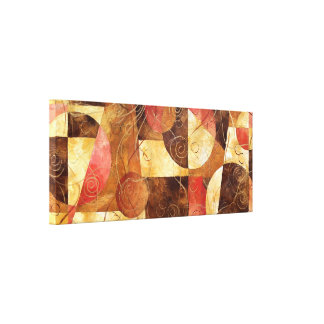 Brown and Pink Abstract Painting Stretched Canvas Print