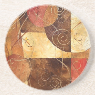 Brown and Pink Abstract Painting Beverage Coasters