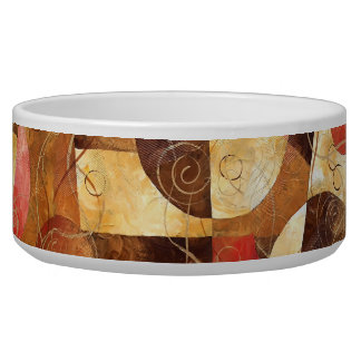 Brown and Pink Abstract Painting Dog Water Bowl