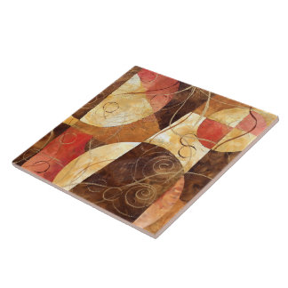 Brown and Pink Abstract Painting Tile