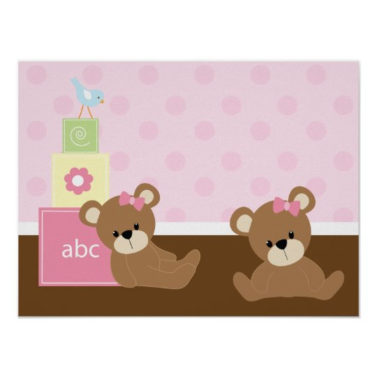 Brown and Pink Bears Kids Wall Decor