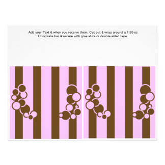 Brown and Pink Birthday Custom Candy Bar Wrappers 21.5 Cm X 28 Cm Flyer