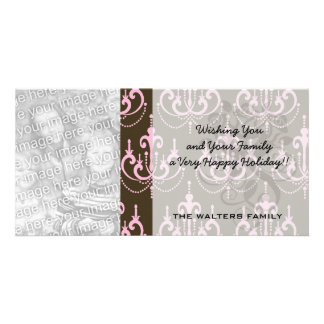 brown and pink chandelier french damask photo cards
