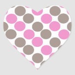 Brown And Pink Dots Heart Sticker