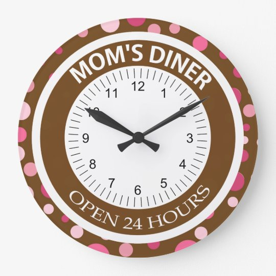 Brown and Pink Dots Mum's Diner Large Clock