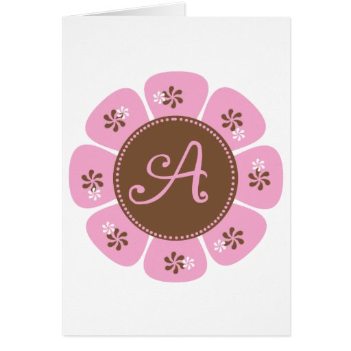 Brown and Pink Monogram A Greeting Cards