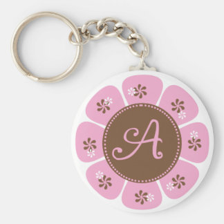 Brown and Pink Monogram A Basic Round Button Key Ring