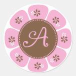 Brown and Pink Monogram A Round Sticker