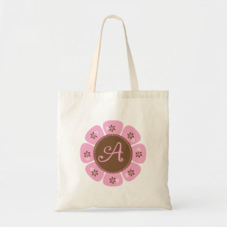 Brown and Pink Monogram A Tote Bag